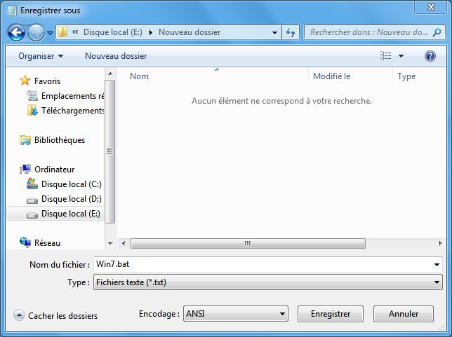 créer un fichier txt pour cracker Windows 7