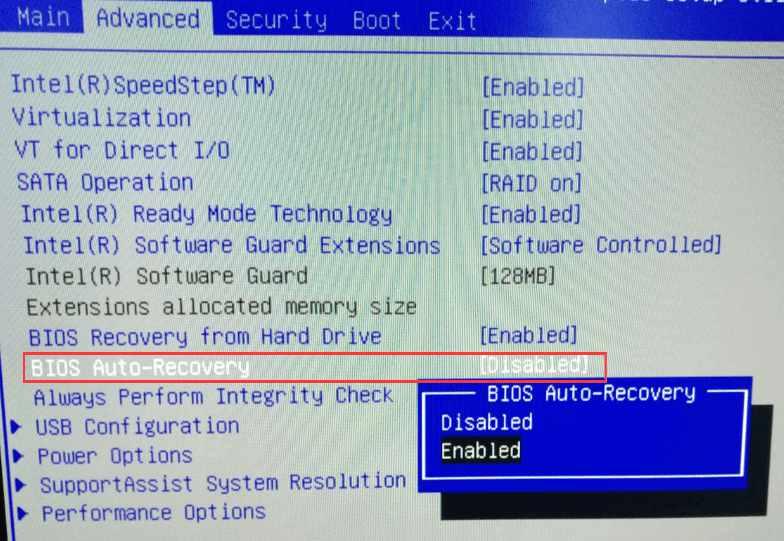 activer auto-recovery pour faire sur un PC Dell une restauration usine sous Windows 10