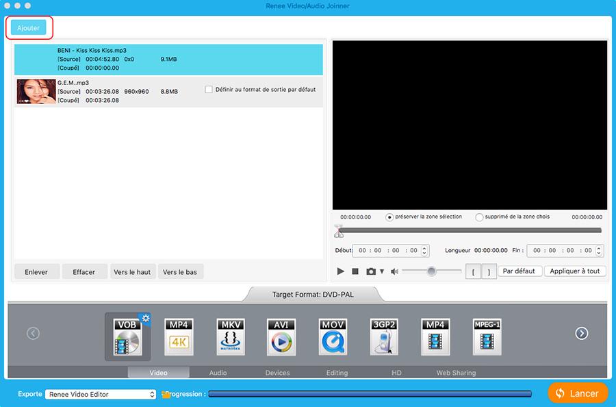 ajouter des fichiers MP3 pour assembler MP3
