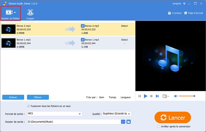 ajouter les fichiers MP3 à assembler