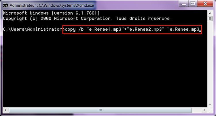 assembler fichiers mp3 avec la commande copy