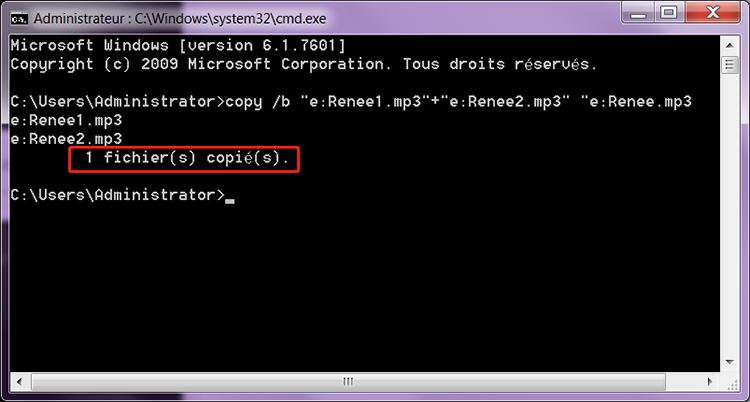 assembler fichiers mp3 en un seul avec la commande copy