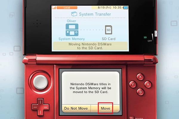 déplacer les fichiers vers la nouvelle Nintendo 3DS