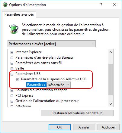 paramètre de la suspension sélective USB
