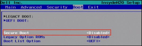 désactiver secure boot