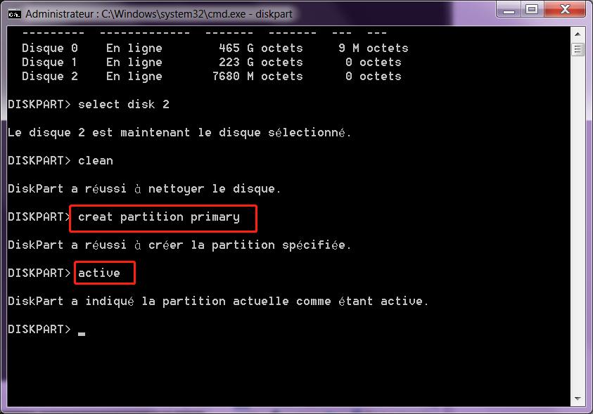 formater la carte sd avec la commande diskpart