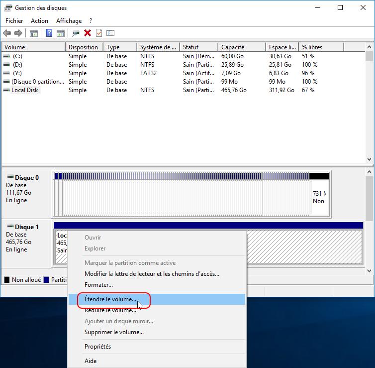 Étendre le volume pour l'espace disque faible Windows 10