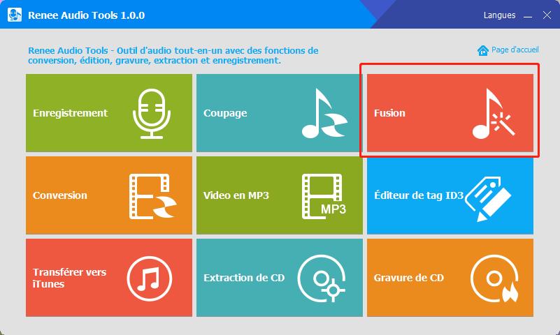 cliquer sur la fonction fusion de Renee audio tools