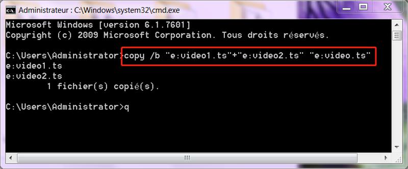 assembler plusieurs fichiers ts avec la commande copy