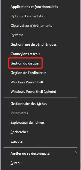 trouver la gestion de disque dans le menu