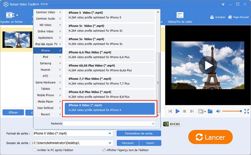 convertir mp4 en un format vidéo pour iPhone