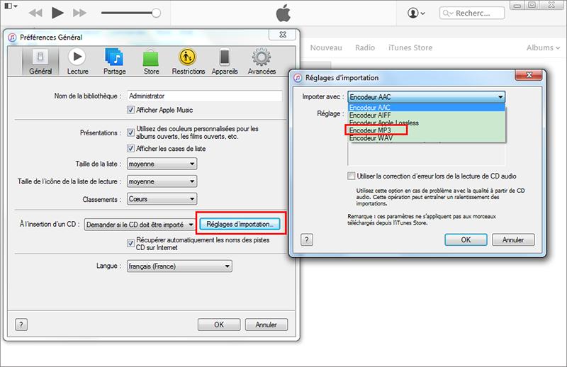 """choisir l'encodeur MP3 dans """"Réglage d'importation"""" de iTunes"""