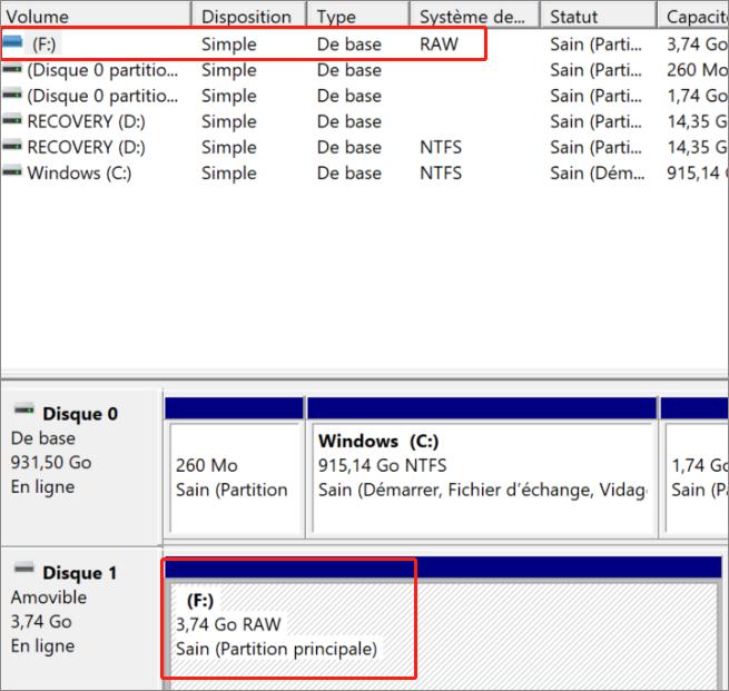 la carte SD avec le système de fichier en RAW ne peut pas être réparée par CHKDSK