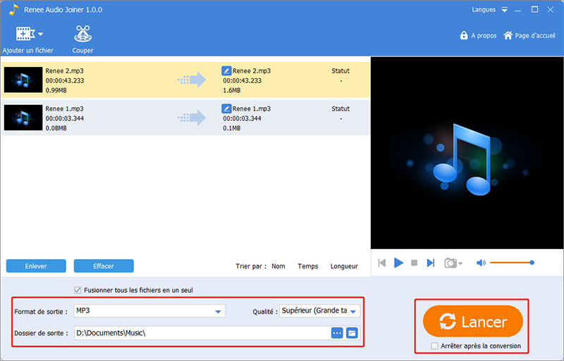 lancer la fusion des fichiers MP3