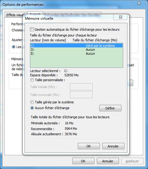 désactiver la mémoire virtuelle pour réparer l'erreur d'espace SSD faible