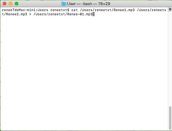 utiliser la commande CAT pour assembler les fichiers mp3