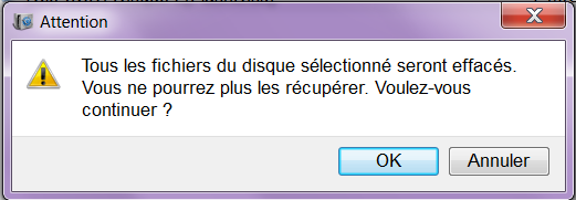 attention pour effacer tous les fichiers dans la partition