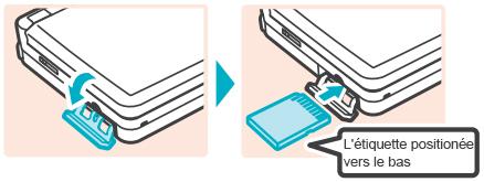 Insérer la carte SD avec l'étiquette tournée vers le bas