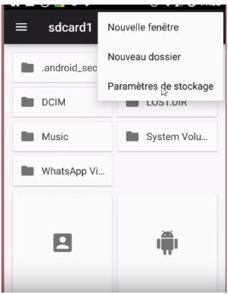 accéder aux paramètres de stockage de la carte SD