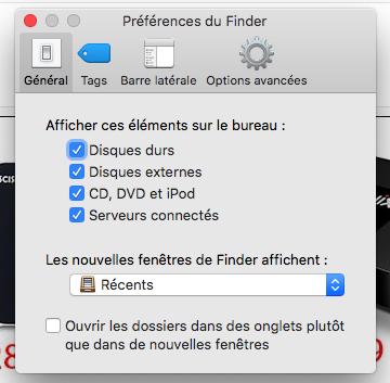 cocher disques externes pour régler la carte SD non reconnue sur Mac