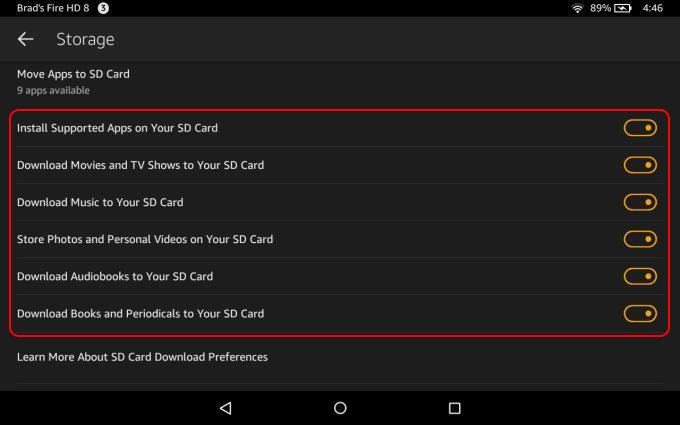 définir les préférences concernant la carte SD sur Kindle Fire