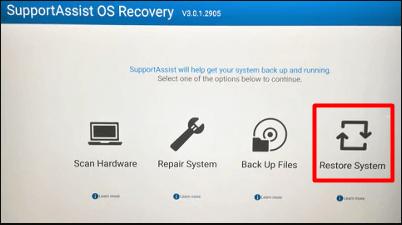 lancer sur le pc Dell une restauration usine sous Windows 10