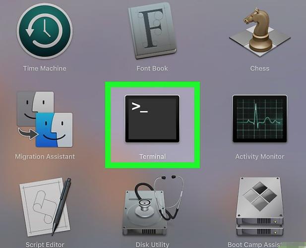 trouver bouton terminal sur Mac OS