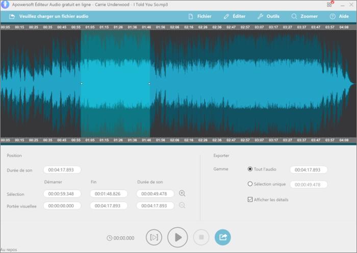 couper la musique avec apowersoft