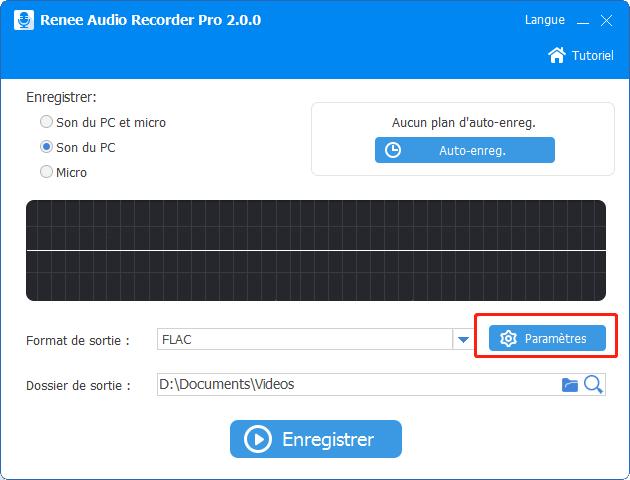 cliquer sur le bouton paramètres pour les configuration d'enregistrement