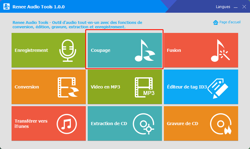 choisir la fonction coupage de Renee Audio Tools