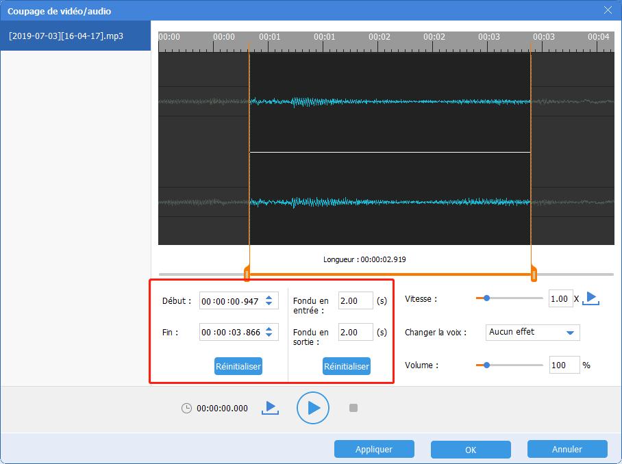 définir les paramètres de fichier audio