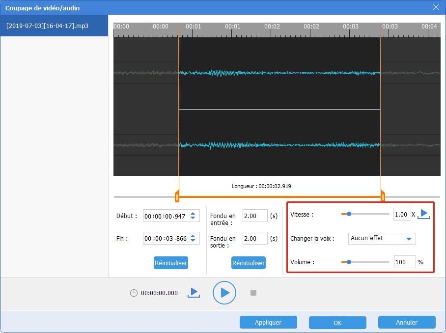 définir les effets de fichier audio