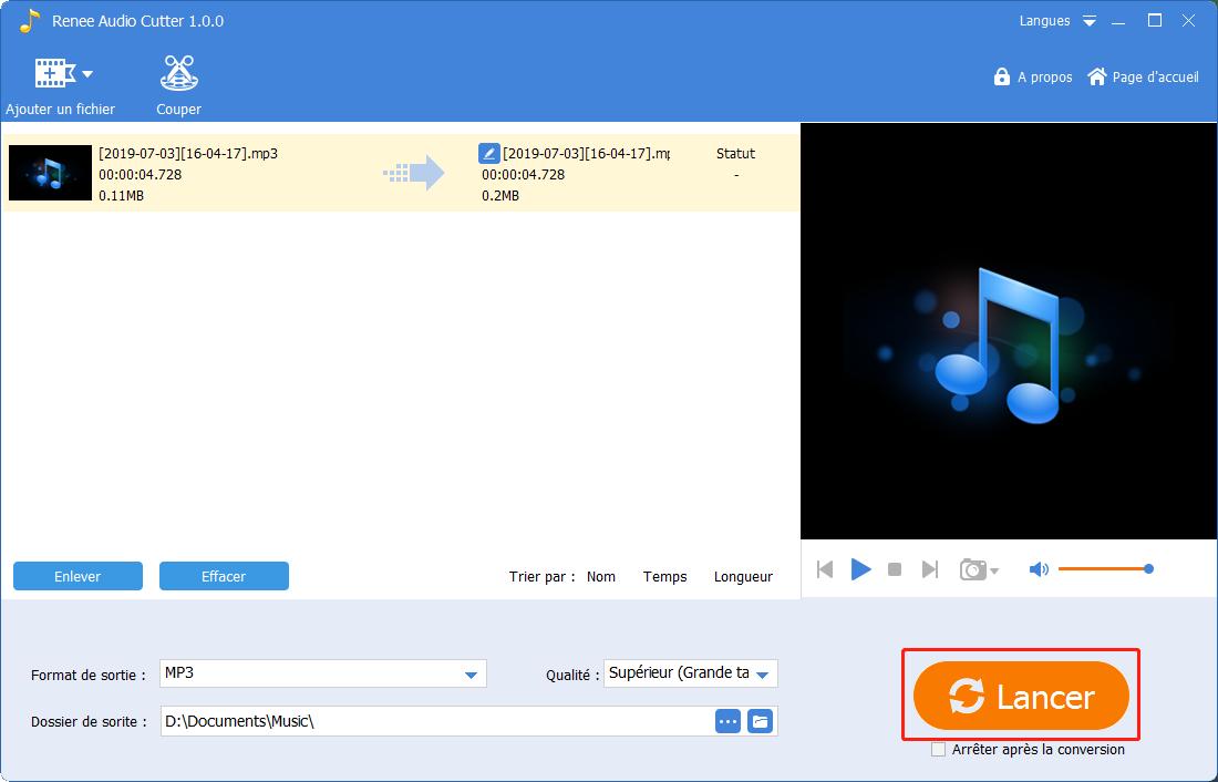 cliquer sur lancer pour enregistrer le fichier audio édité