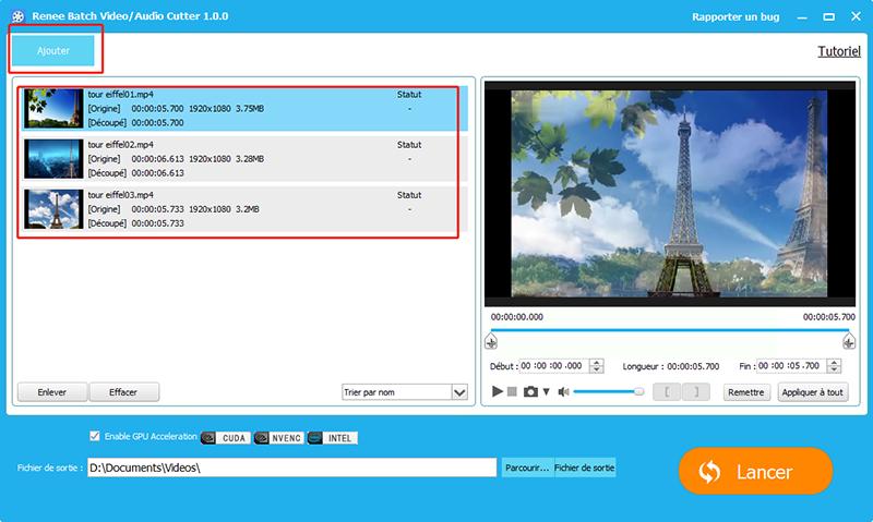 charger plusieurs fichiers vidéo à la fois
