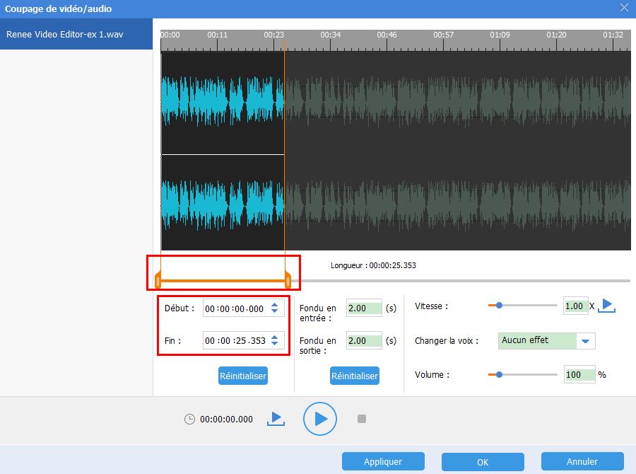 définir le début et la fin pour le fichier audio