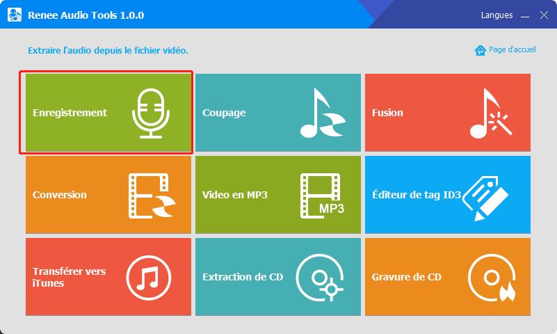 cliquer sur enregistrement audio tools