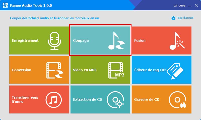 sélectionner la fonction de coupage de Renee Audio Tools