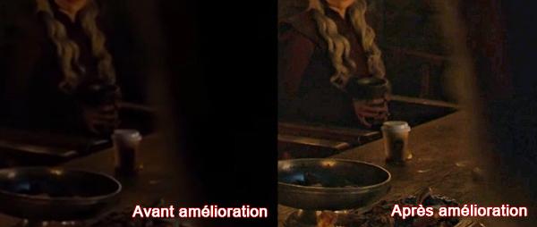l'image de la vidéo avant et après l'amélioration