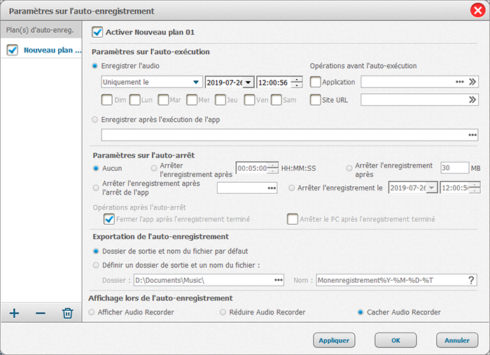 configurer la planification sur audio recorder pro