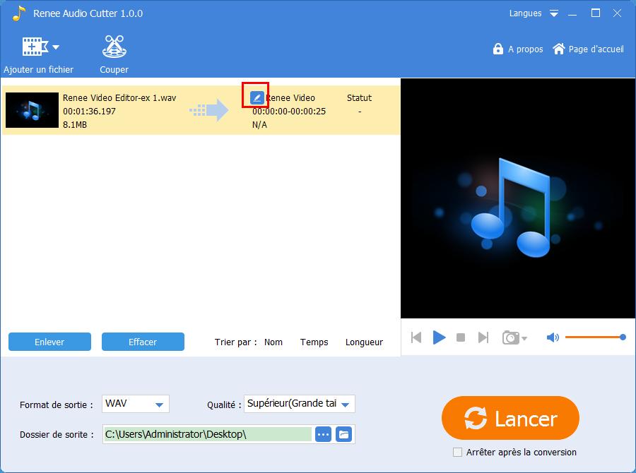 renommer le fichier et enregistrer le fichier audio