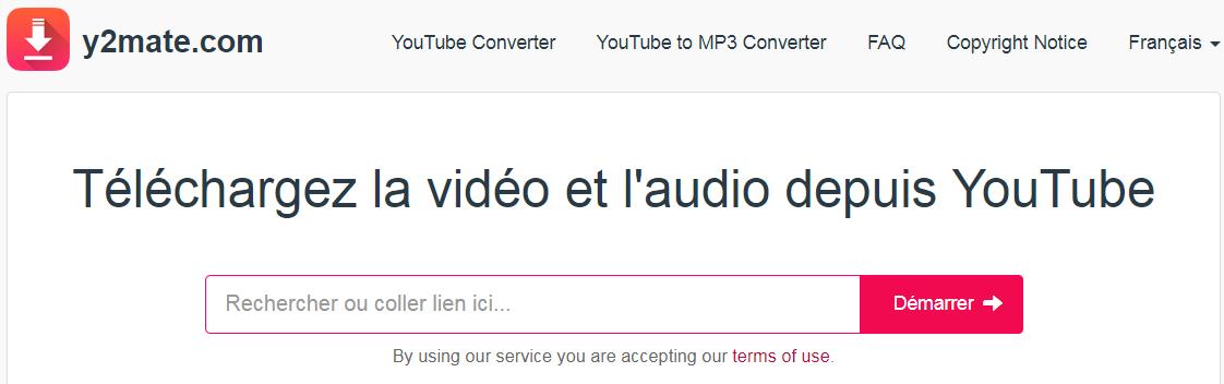 y2mate pour convertir la musique YouTube en MP3 en ligne