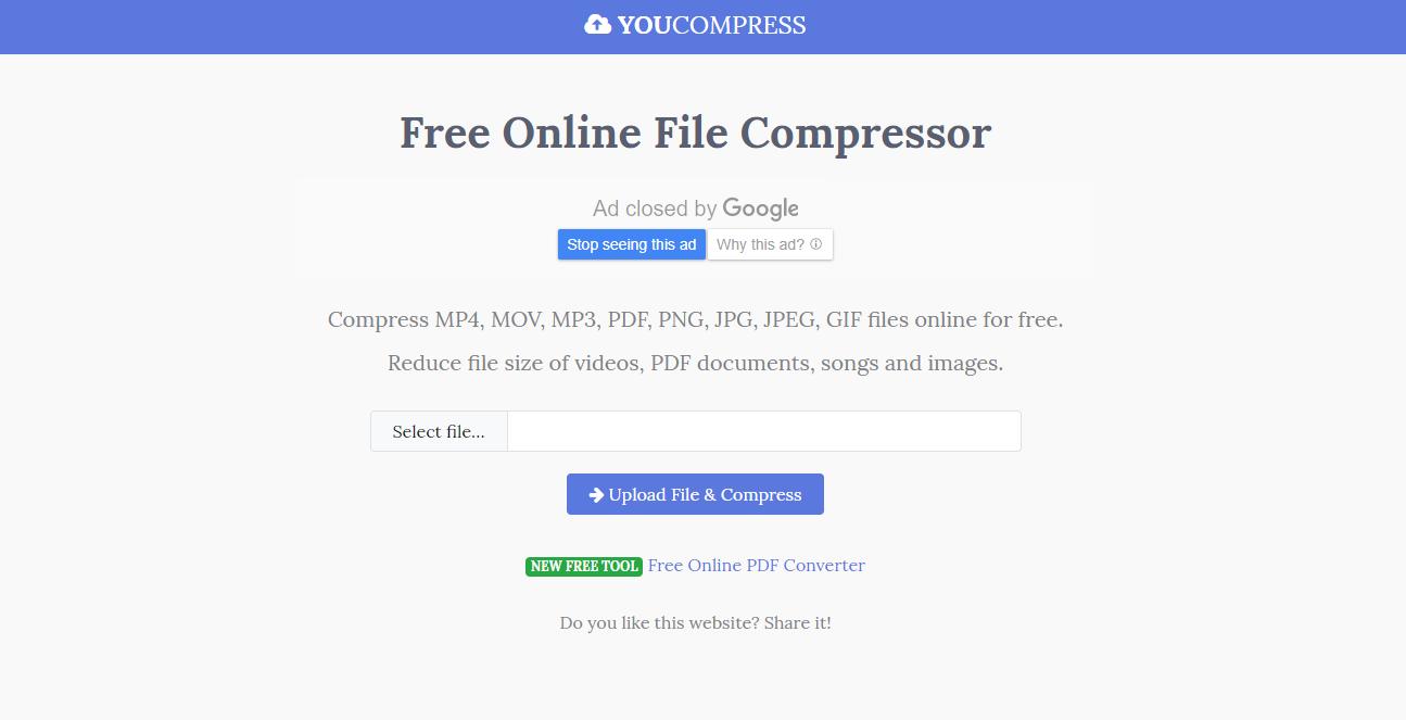 compresser fichier audio en ligne avec Youcompress
