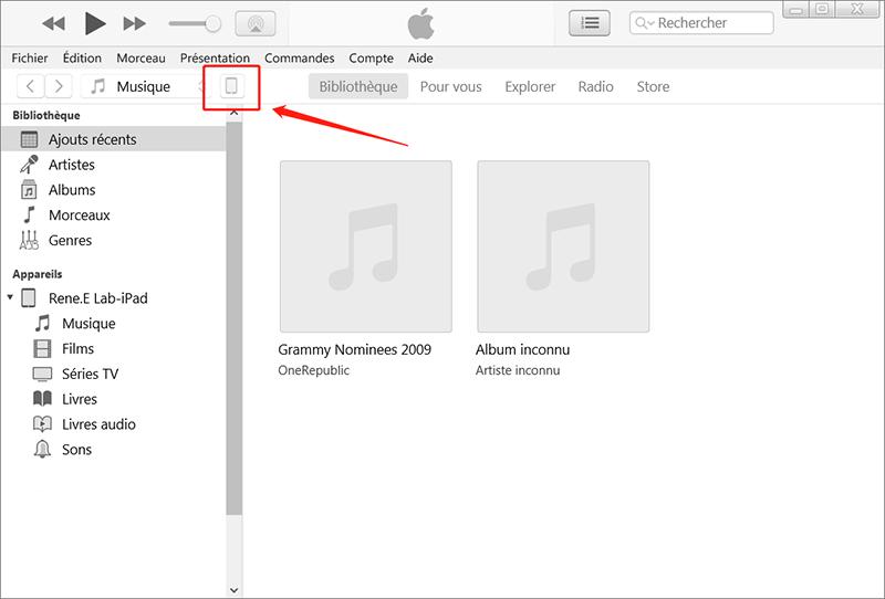 Cliquez sur l'icône iPad