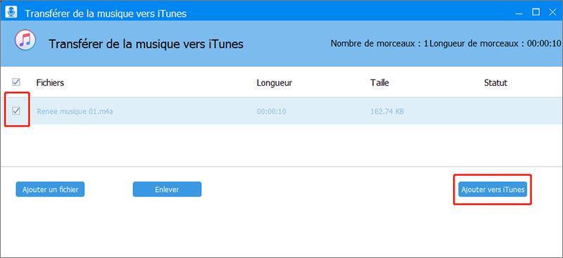 ajouter le fichier M4A vers iTunes
