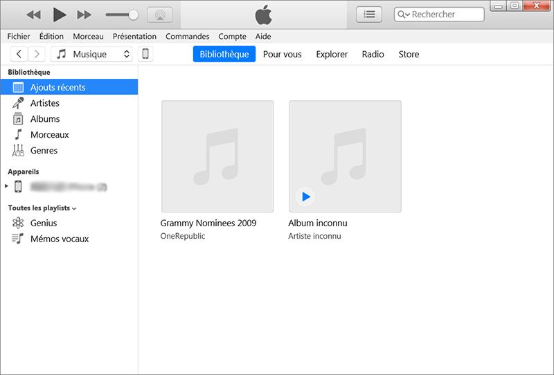 déplacer les musiques sur l'ordinateur directement vers iTunes