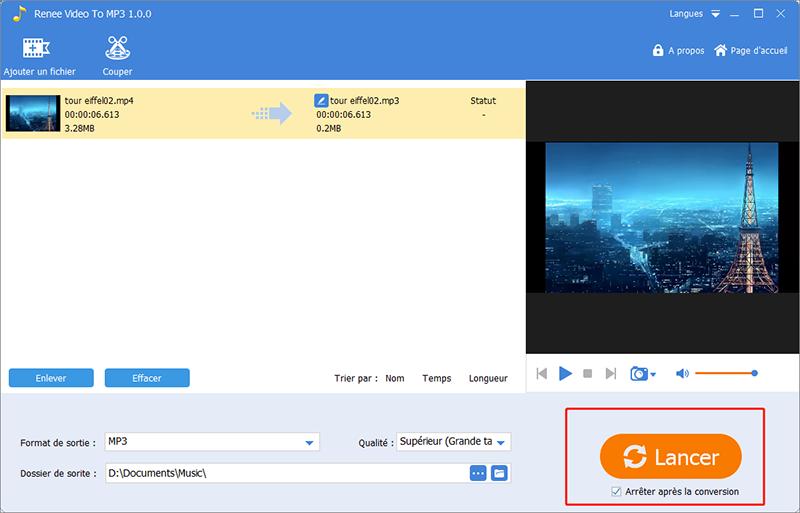 cliquer sur lancer pour commencer la conversion de vidéo en mp3