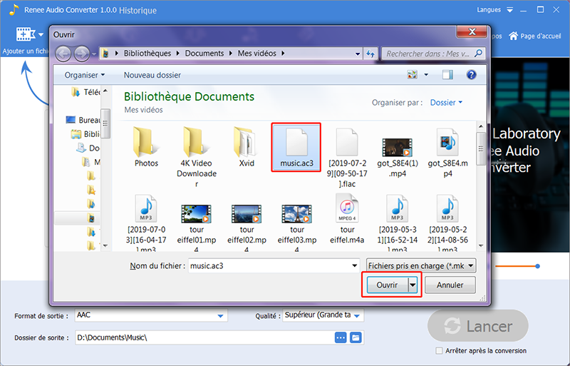 sélectionner un fichier AC3 sur l'ordinateur