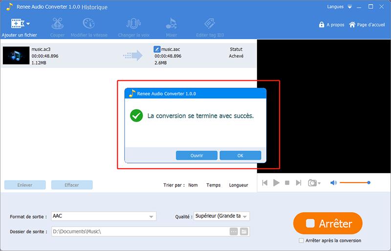 la conversion de fichier au format AC3 est terminée.