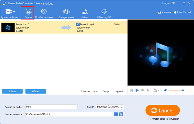 cliquer sur couper à audio converter
