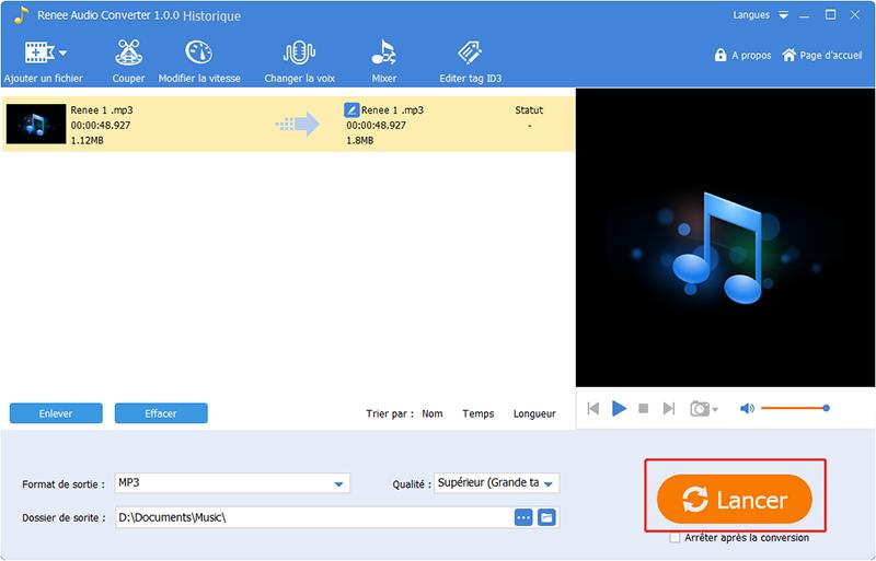 terminer le coupage du fichier audio synchronisé
